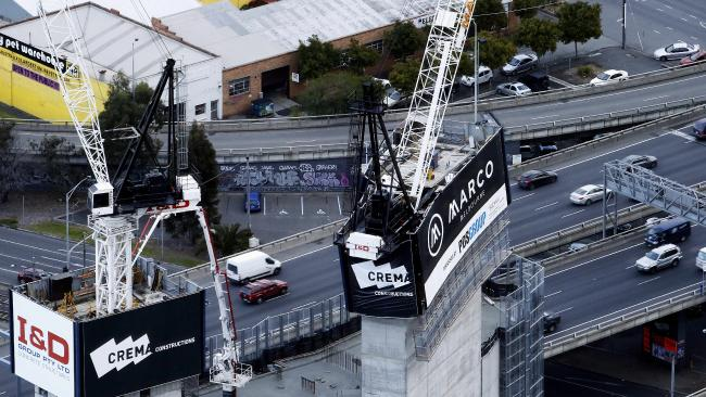 Crane collapse in Melbourne, Southbank, photo courtesy of The Advertiser.